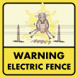 Stock Vector: Electric fence sign