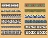 китайские орнаменты бесшовные линейные — Cтоковый вектор