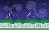 Stormy city (desktop background - aspect ratio 16:10) — Vector de stock