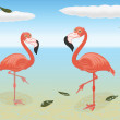 Stoic flamingos — Stock Vector #30637133