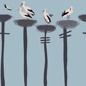 Storks seamless pattern — Stock Vector