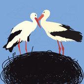 Storks in nest — Stock Vector