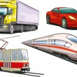 Stock Vector: Land transportation