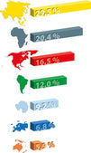 Continents statistics — Vector de stock