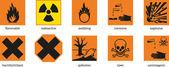 Etiquetas de advertencia — Vector de stock