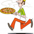 Pizza guy — Stock Vector