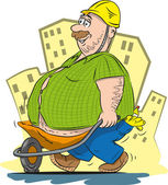 Fat worker — Stock Vector