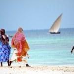 Muslim women enjoying the beach, Zanzibar — Stock Photo #15686423