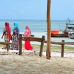 Muslim women enjoying the beach, Zanzibar — Stock Photo #15687065