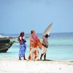 Muslim women enjoying the beach, Zanzibar — Stock Photo #16020699