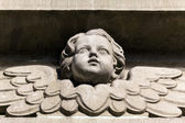 Bas-relief of a small angel on facade of church — Stock Photo