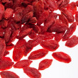 A lot of of red goji berry isolated on white background close up — Stock Photo