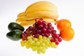 Group of fresh fruits isolated on white background — Stok fotoğraf