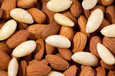 Background  of group of brown and white almond closeup — Stock Photo