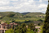 View from lookout in San Gimignano in Toskany in Italy of the countyside — Stock Photo