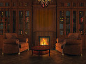 Libraries around the fireplace — Stock Photo