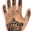 Henna hena mehendi design - isolated pink nails and shadow — Stock Photo