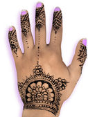 Henna hena mehendi design - isolated purple nails and shadow — Stock Photo