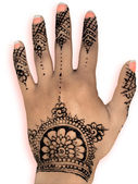 Henna hena mehendi - isolated peach nails and shadow — Foto Stock