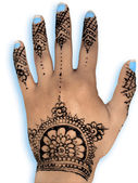 Henna hena mehendi - isolated blue nails and shadow — Stock Photo