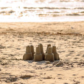 Sand castle - leisure activity at the beach. — Stock Photo