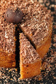 Slice of a chocolate and walnut cake . Close up shot. — Stock Photo