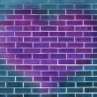 Single big purple heart on a blue brick wall background — Stock Photo