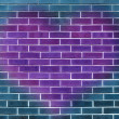 Single big purple heart on a blue brick wall background — Stock Photo #31971085