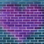 Single big purple heart on a blue brick wall background — Stock Photo