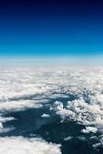 Above aerial plane view of Italian alps and cloudscape — Stock Photo