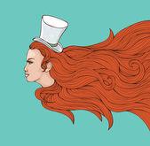 Röd kvinna — Stockvektor