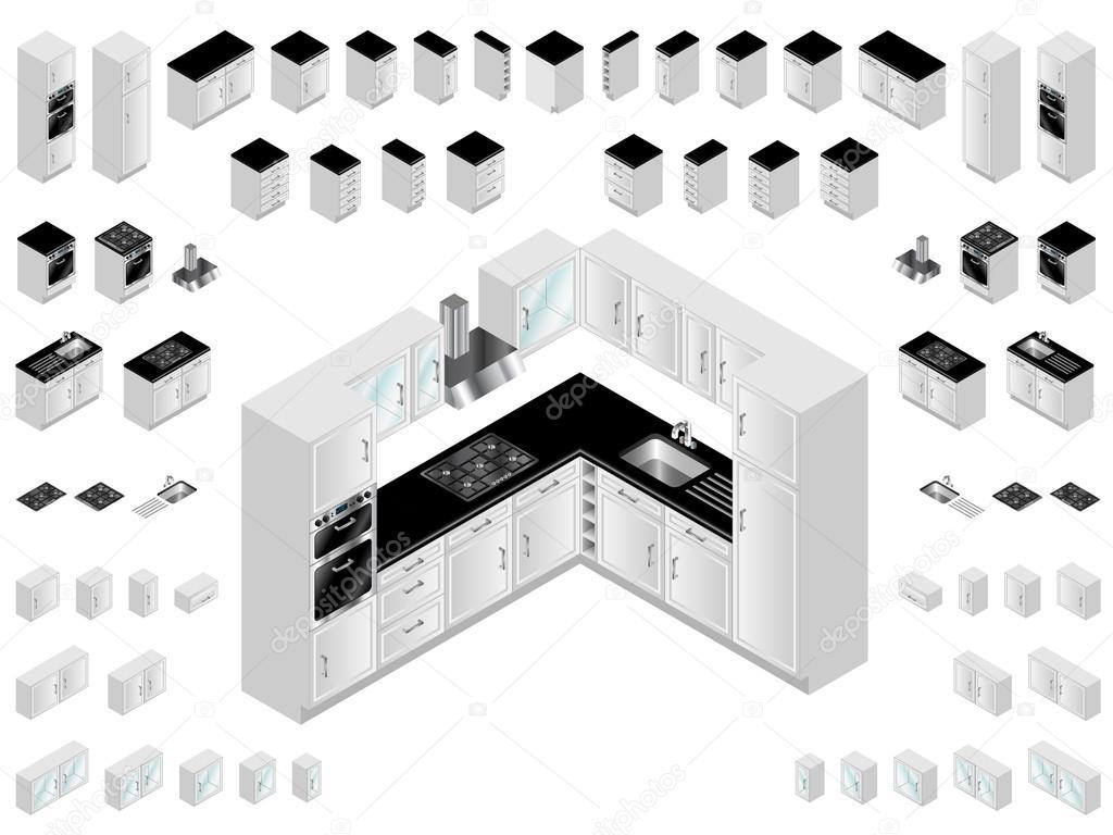Kitchen design elements stock vector eyematrix 17421139 for Kitchen design vector