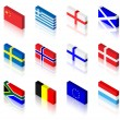 Stock Vector: 3D Flags