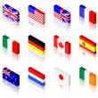 3D Flags - Stock Vector