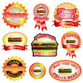 Burger Labels — Stock Vector