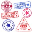 Stock Vector: Lifetime Warranty Stamps