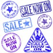 Sale Now On Rubber Stamps — Stock Vector