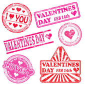 Valentines Day Rubber Stamps — 图库矢量图片