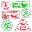 Merry Christmas Rubber Stamps — Stock Vector