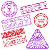 International Women's Day Stamps — Stock Vector