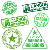 Low Carbon Emissions Stamps — Stock Vector