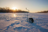 Ice fishing scene — Stock Photo