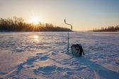 Ice fishing scene — Foto Stock
