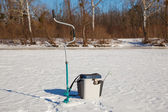 Ice fishing accessories — Stockfoto