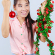 Asian women are decorated for Christmas. — Stock Photo