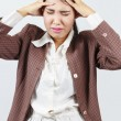 Headache or migraine concept - tired stressed woman — Stock Photo