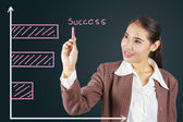 Business success growth chart.Asian businesswoman succeeding. — Stock Photo