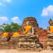 Ancient Buddha statues at Wat Yai Chai Mongkol in Ayutthaya, Tha — Stock Photo