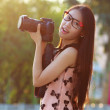 Summer girl portrait. Asian woman smiling happy on sunny summer — Stock Photo
