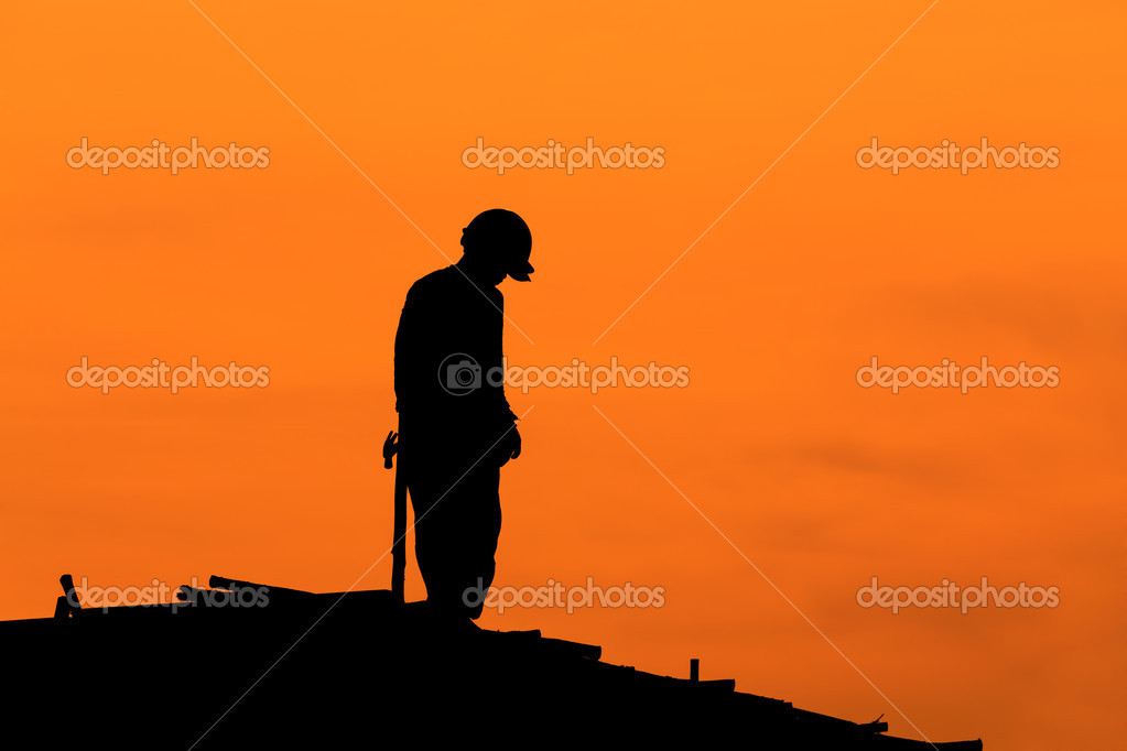 Construction Worker Hammer Silhouette Silhouette of Construction Workers on Scaffold Working Under a Hot Sun